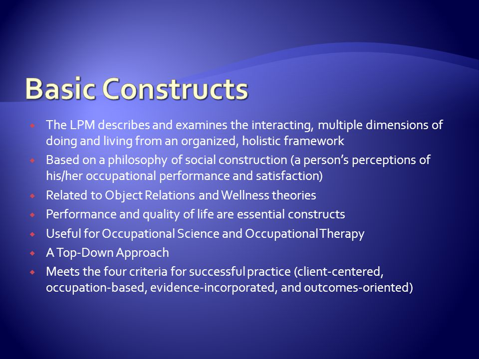 Basic Constructs The LPM describes and examines the interacting, multiple dimensions of doing and living from an organized, holistic framework.