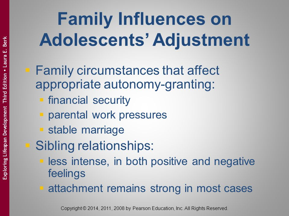 Family Influences on Adolescents' Adjustment