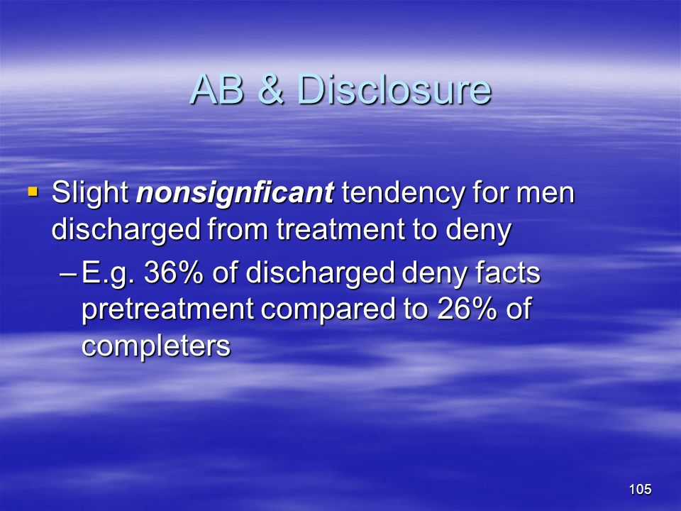 AB & Disclosure Slight nonsignficant tendency for men discharged from treatment to deny.