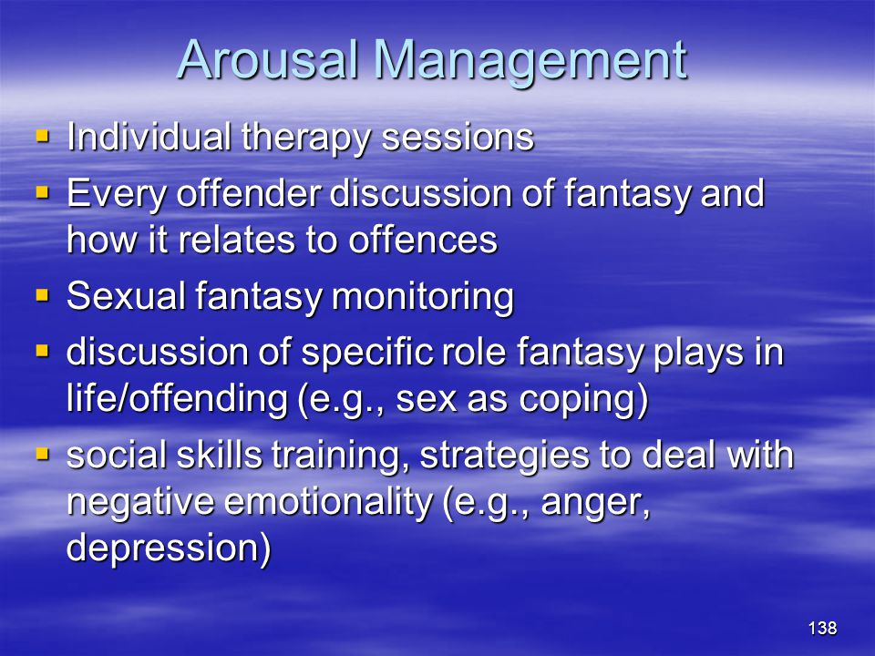 Arousal Management Individual therapy sessions
