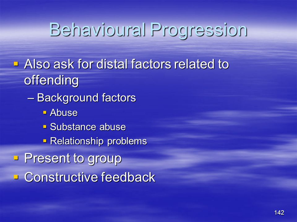 Behavioural Progression