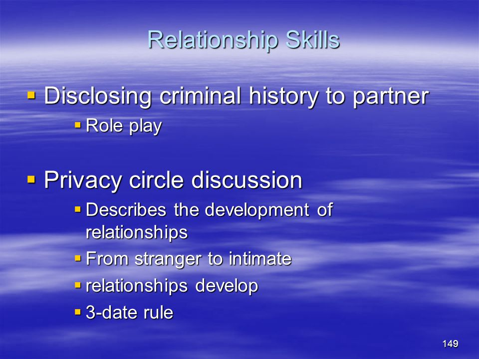 Disclosing criminal history to partner