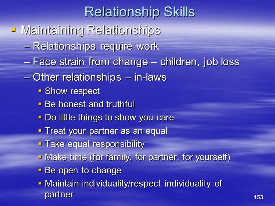 Relationship Skills Maintaining Relationships