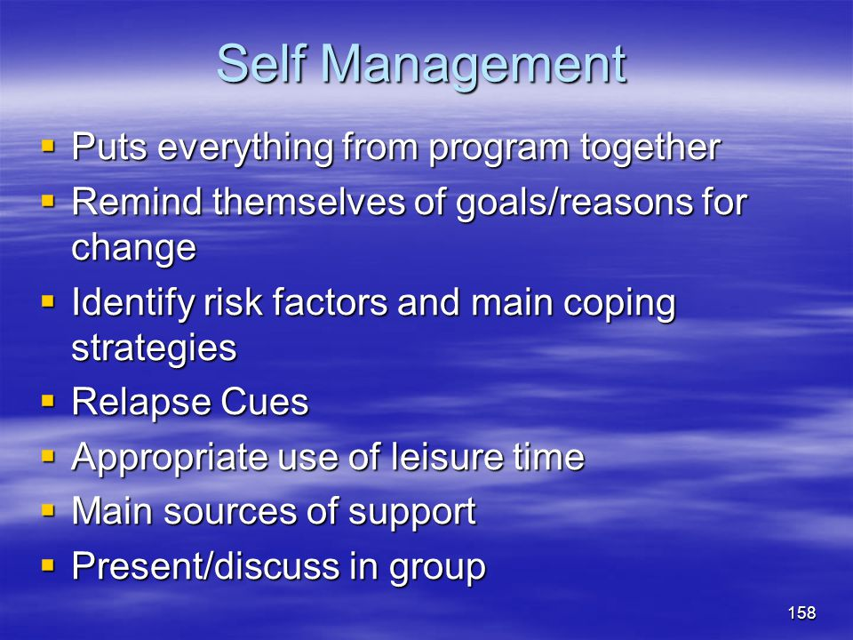 Self Management Puts everything from program together