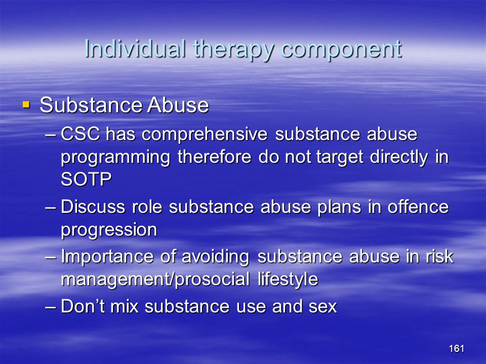 Individual therapy component