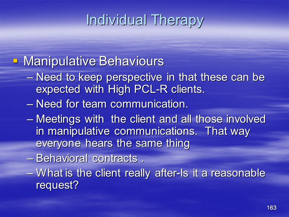 Individual Therapy Manipulative Behaviours