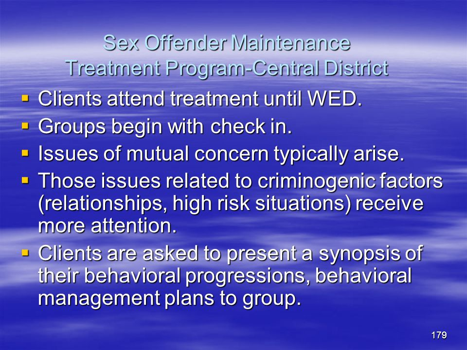 Sex Offender Maintenance Treatment Program-Central District