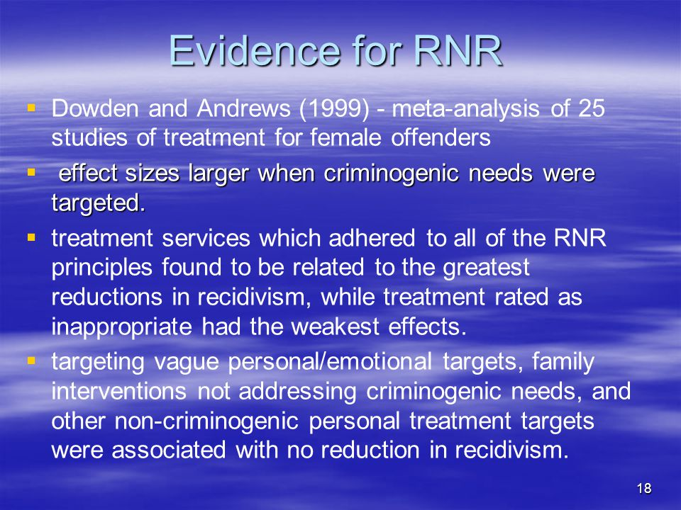 Evidence for RNR Dowden and Andrews (1999) - meta-analysis of 25 studies of treatment for female offenders.