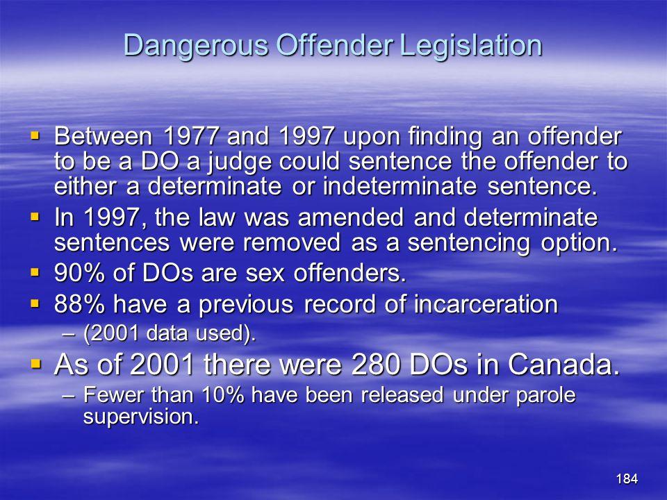 Dangerous Offender Legislation
