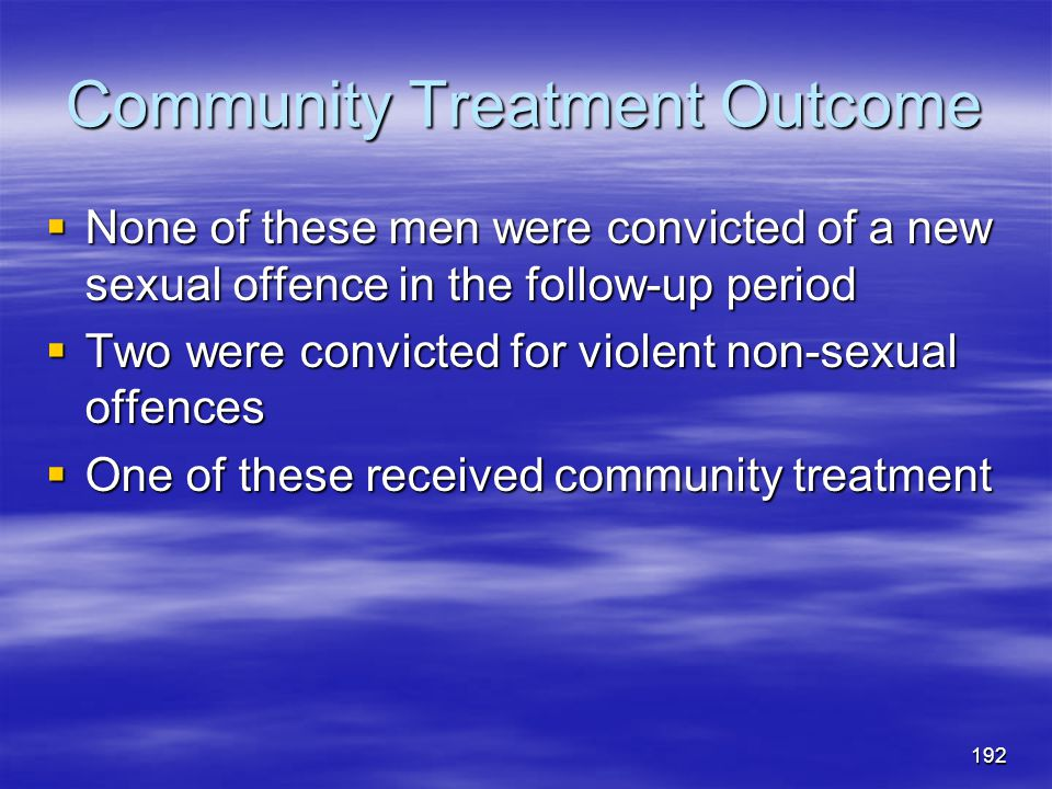 Community Treatment Outcome