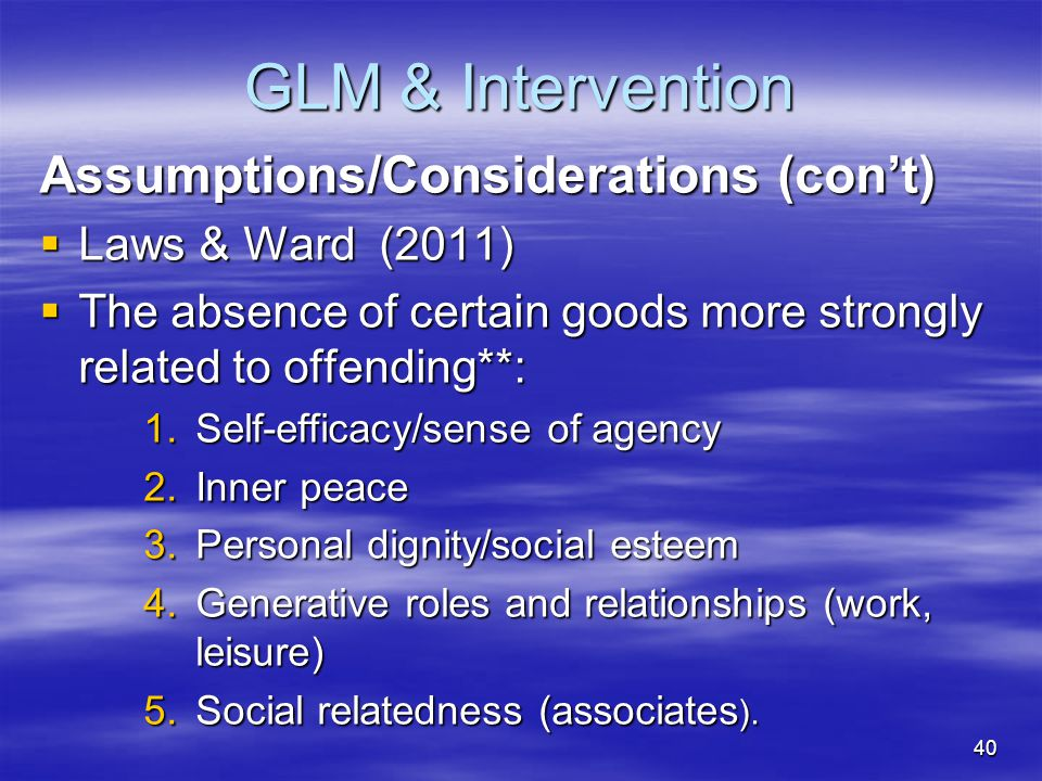 GLM & Intervention Assumptions/Considerations (con't)