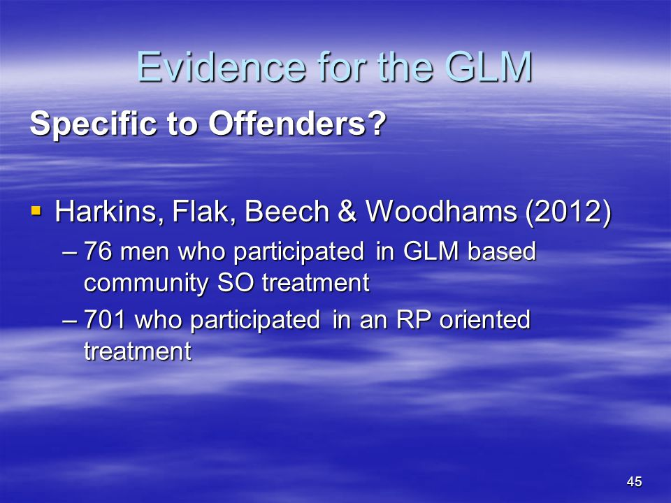 Evidence for the GLM Specific to Offenders
