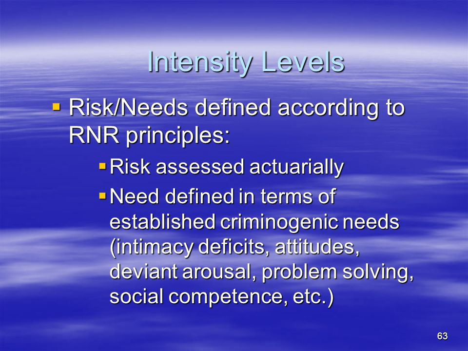 Intensity Levels Risk/Needs defined according to RNR principles: