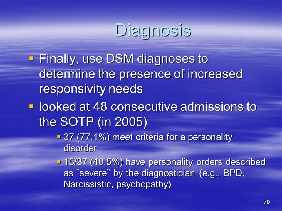 Diagnosis Finally, use DSM diagnoses to determine the presence of increased responsivity needs.