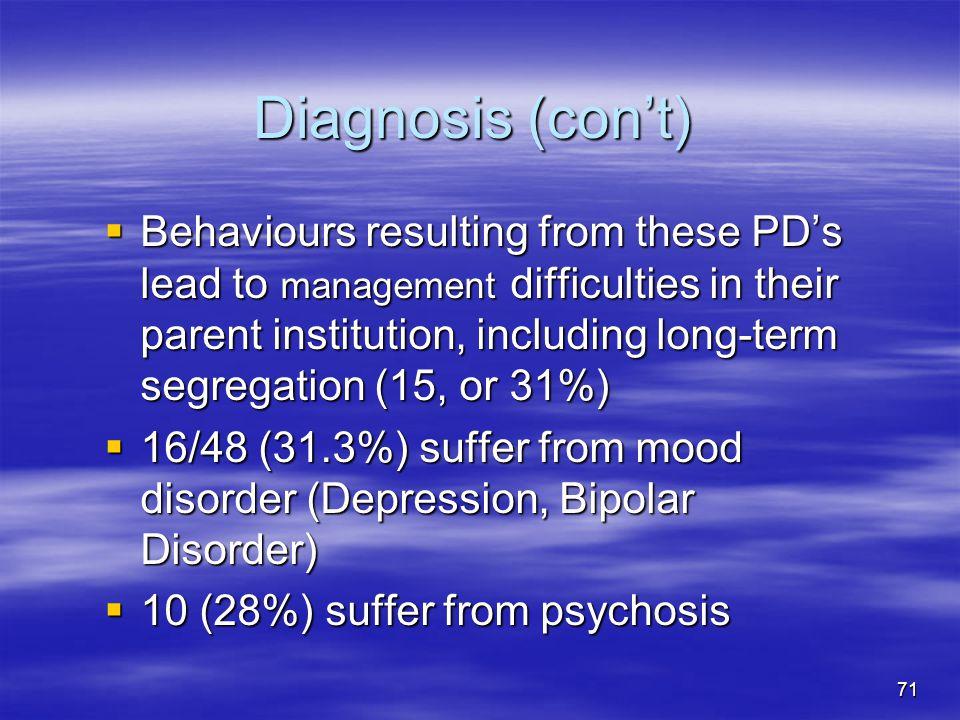Diagnosis (con't)