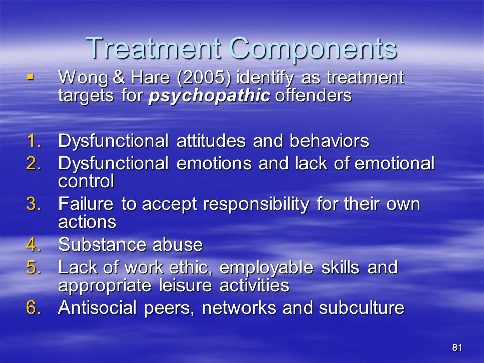 Treatment Components Wong & Hare (2005) identify as treatment targets for psychopathic offenders. Dysfunctional attitudes and behaviors.