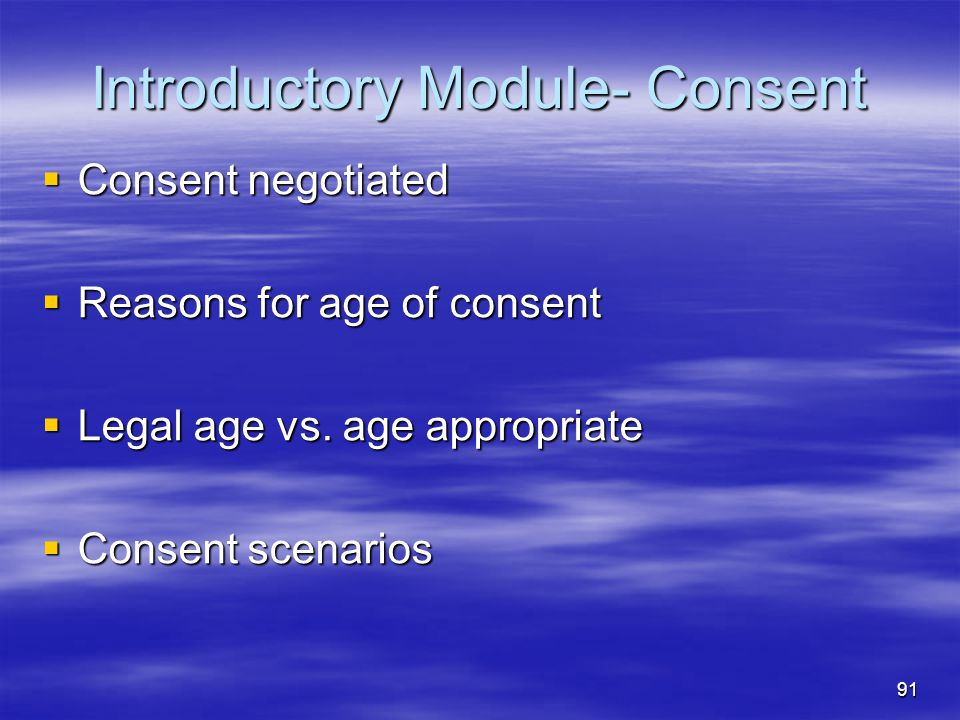 Introductory Module- Consent