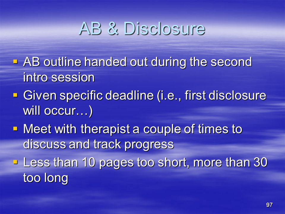 AB & Disclosure AB outline handed out during the second intro session