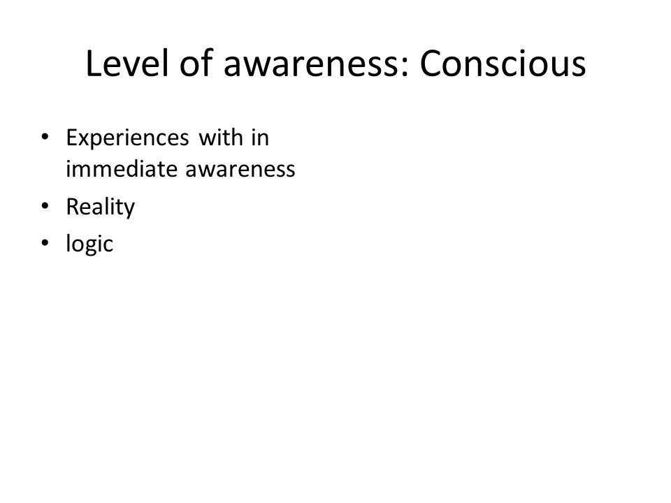 Level of awareness: Conscious