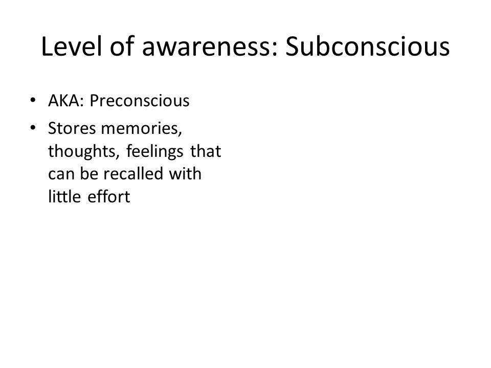 Level of awareness: Subconscious