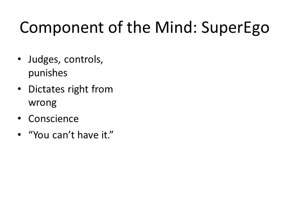 Component of the Mind: SuperEgo
