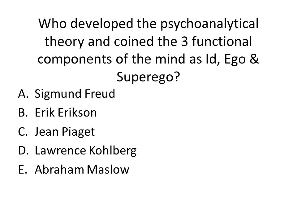Who developed the psychoanalytical theory and coined the 3 functional components of the mind as Id, Ego & Superego