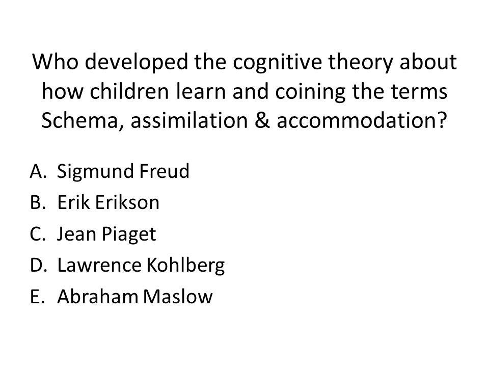 Who developed the cognitive theory about how children learn and coining the terms Schema, assimilation & accommodation