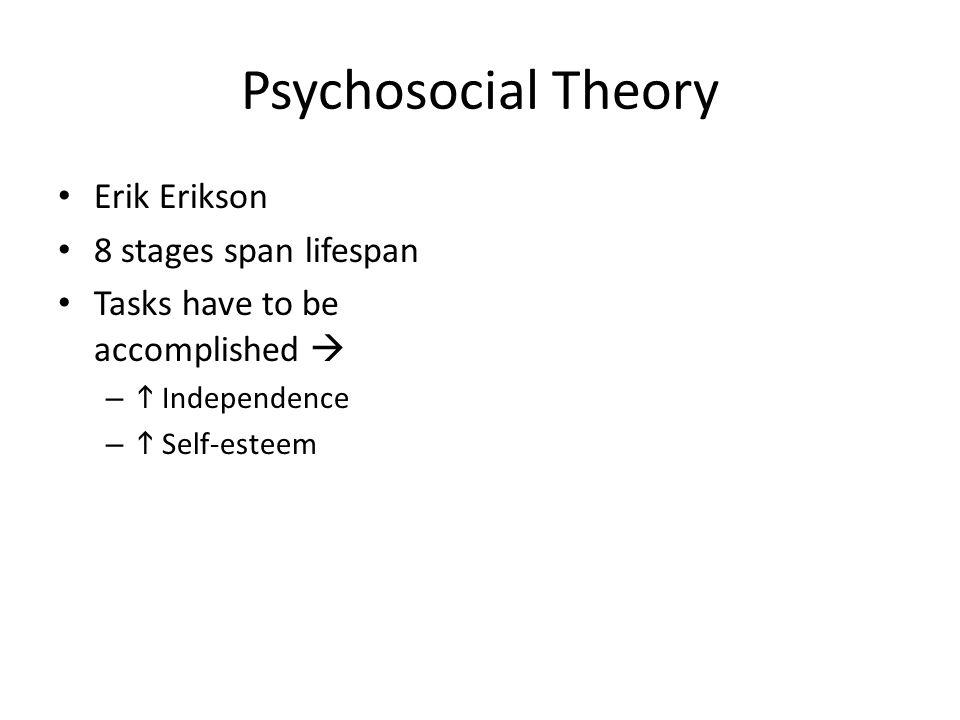 Psychosocial Theory Erik Erikson 8 stages span lifespan