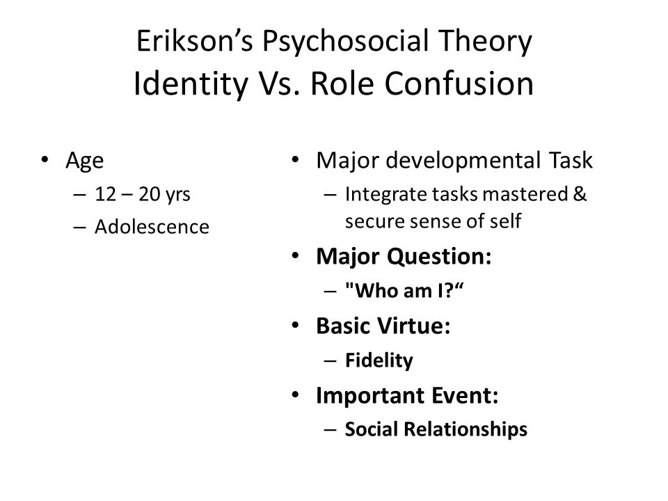 Erikson's Psychosocial Theory Identity Vs. Role Confusion