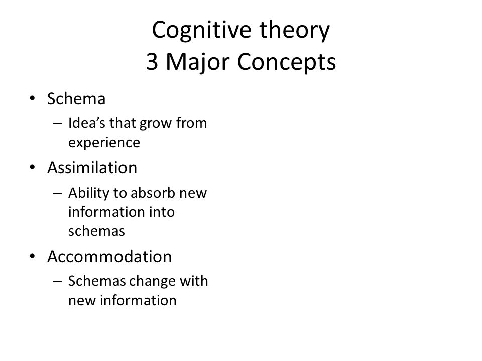 Cognitive theory 3 Major Concepts