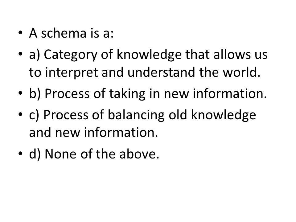 A schema is a: a) Category of knowledge that allows us to interpret and understand the world. b) Process of taking in new information.