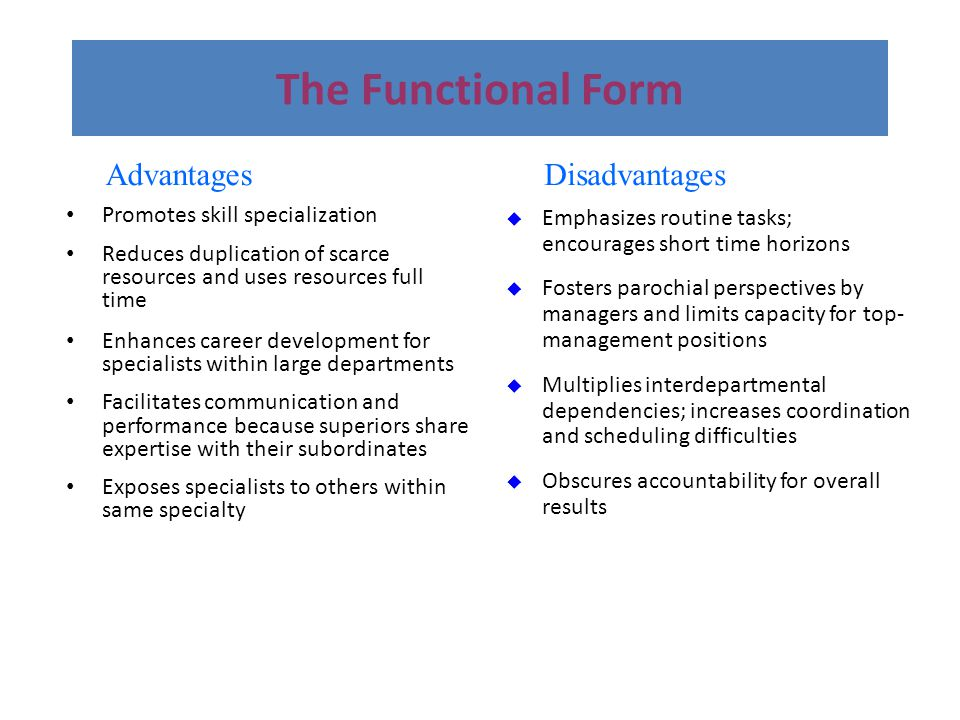 The Functional Form Advantages Disadvantages