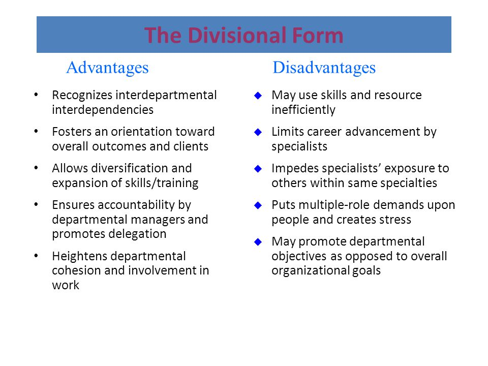advantages and disadvantages of product divisional structure A divisional organizational structure gives a advantages & disadvantages of the group usually consists of volunteers gathered to discuss a particular product.