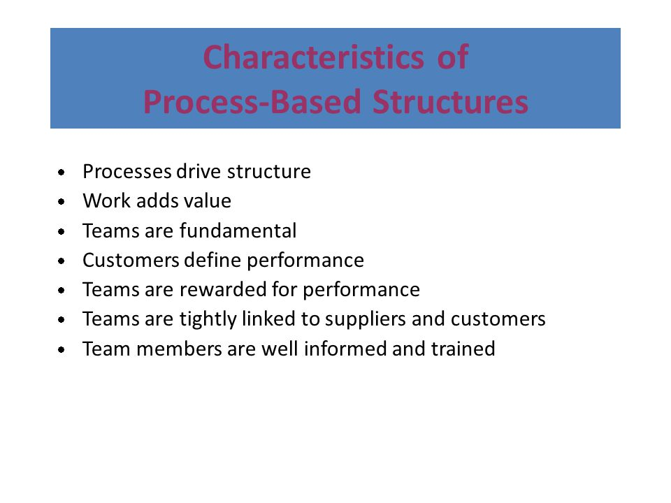 Characteristics of Process-Based Structures