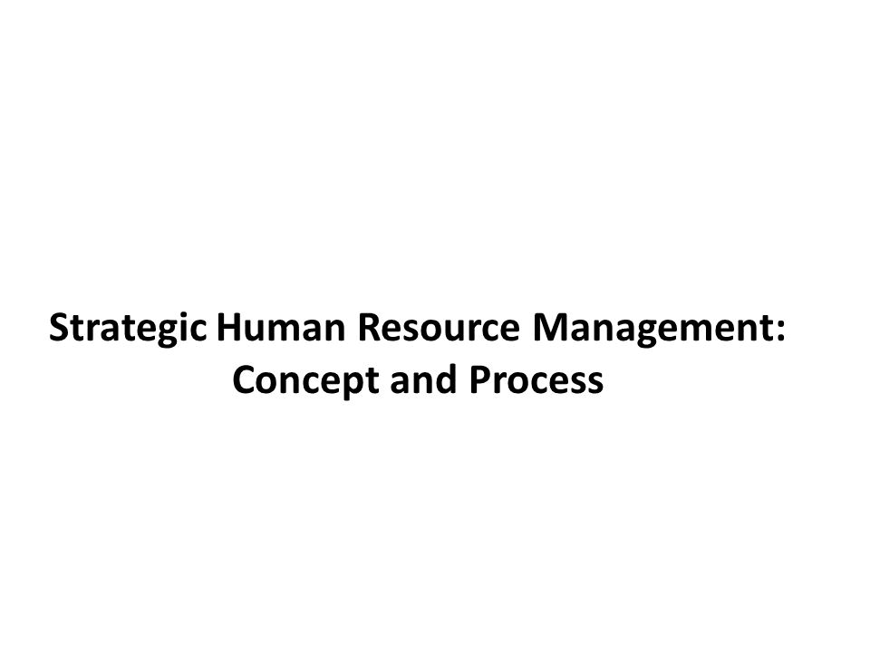 Strategic Human Resource Management: Concept and Process