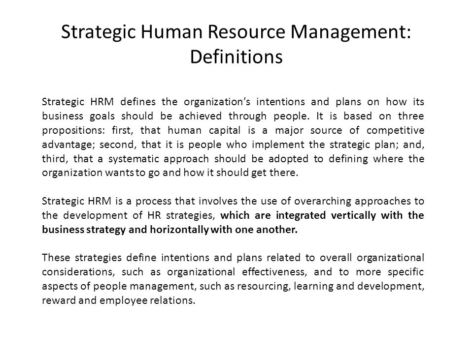 Strategic Human Resource Management: Definitions