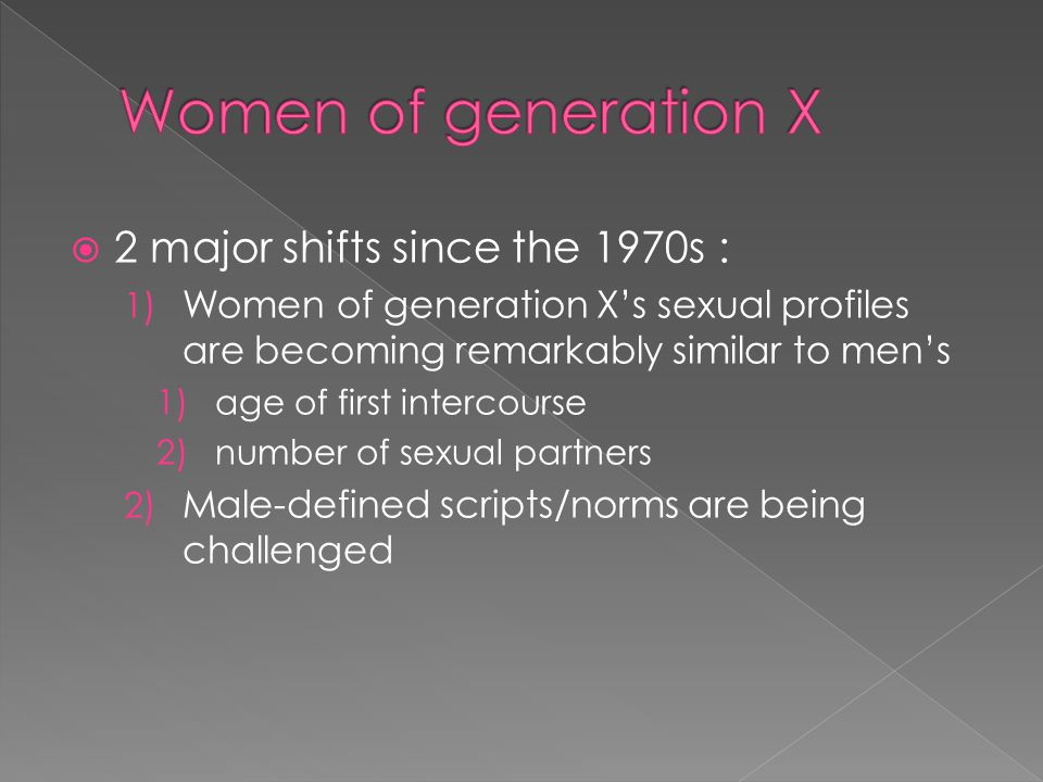 Women of generation X 2 major shifts since the 1970s :