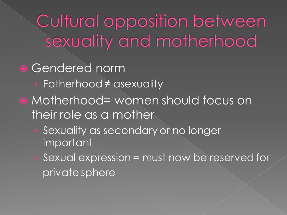 Cultural opposition between sexuality and motherhood