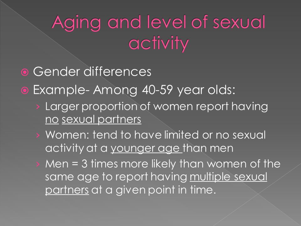 Aging and level of sexual activity