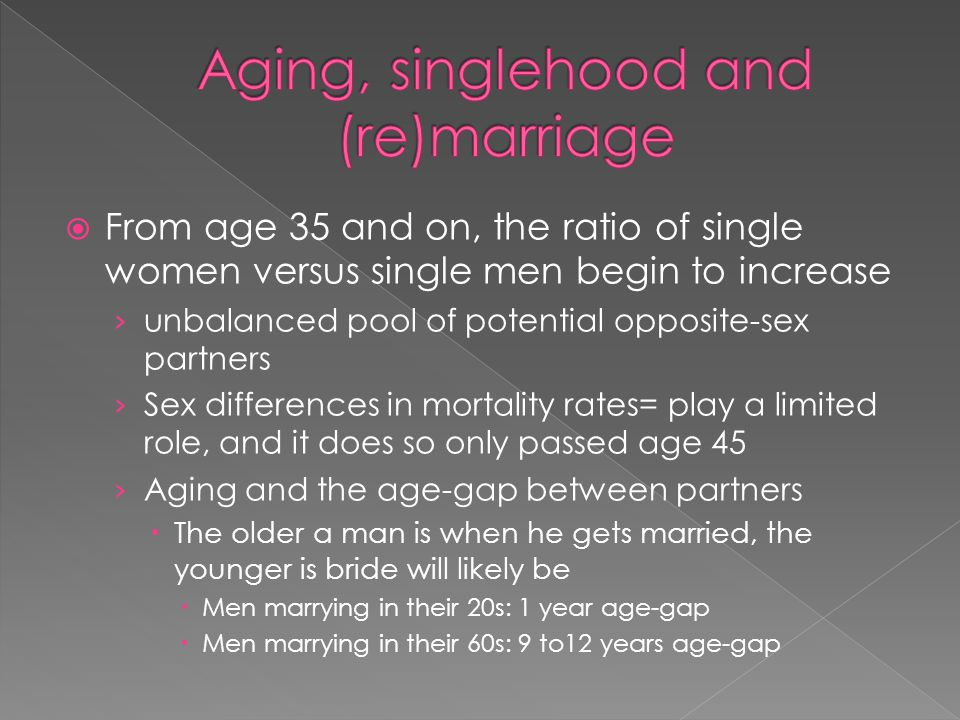 Aging, singlehood and (re)marriage