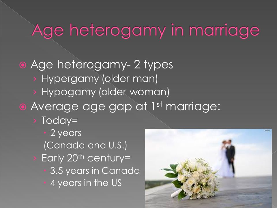 Age heterogamy in marriage
