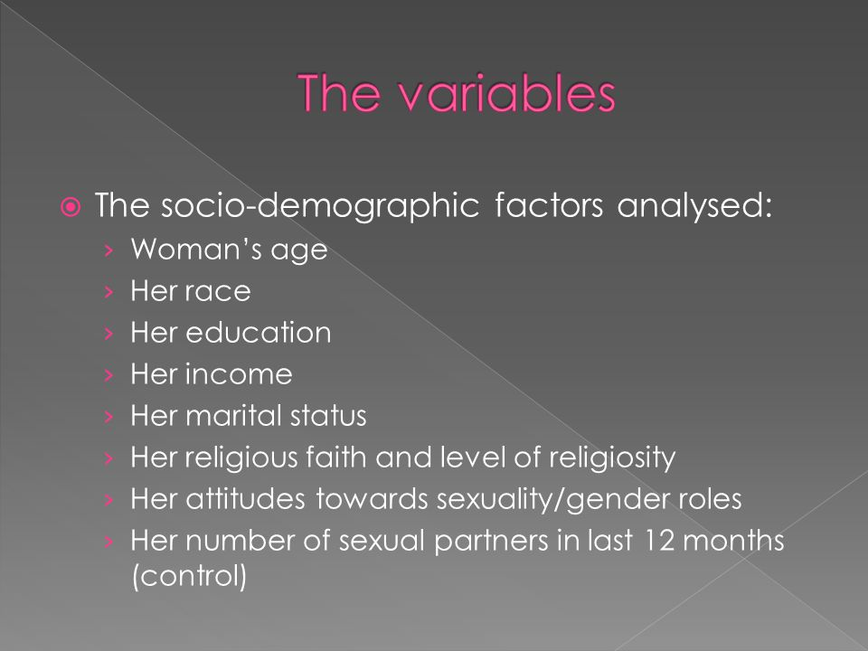 The variables The socio-demographic factors analysed: Woman's age