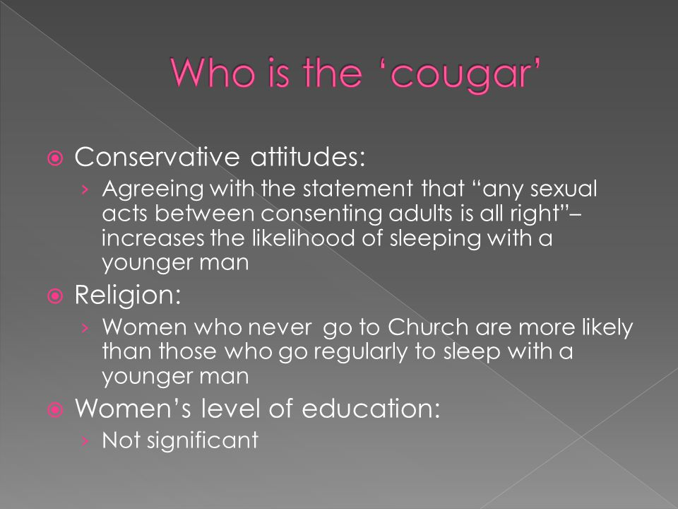 Who is the 'cougar' Conservative attitudes: Religion: