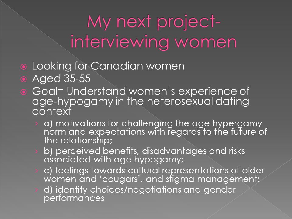 My next project- interviewing women