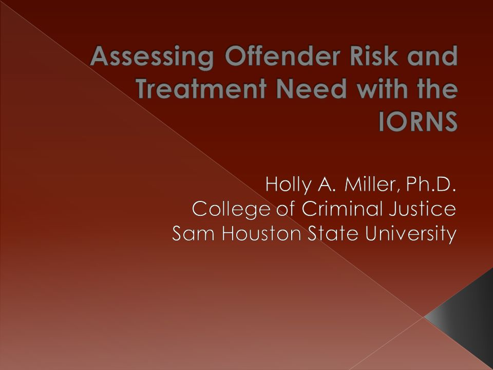 Assessing Offender Risk and Treatment Need with the IORNS