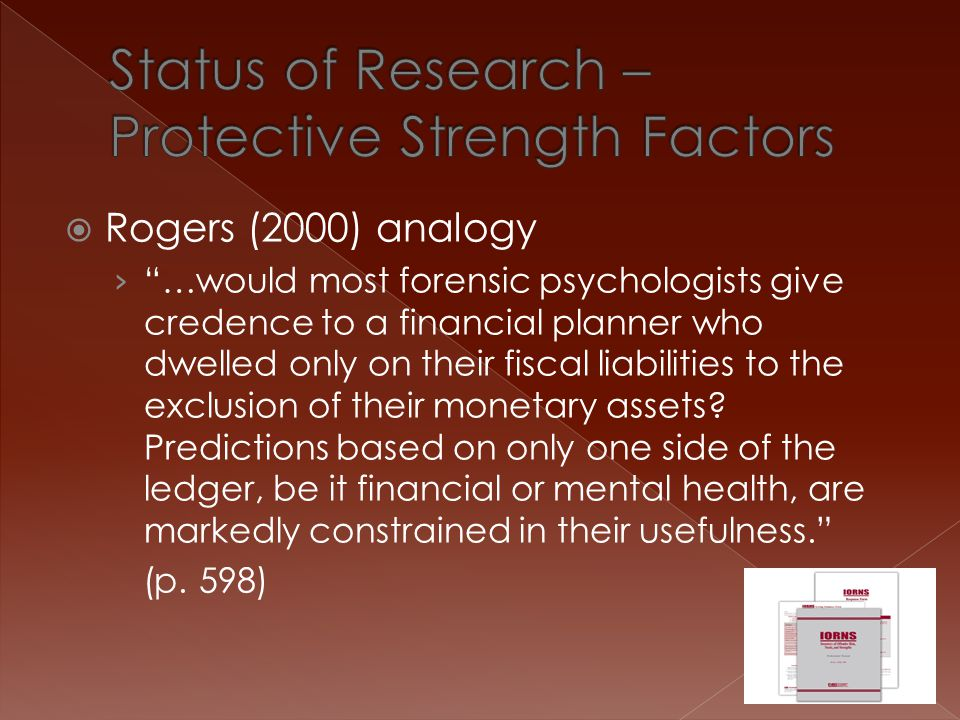 Status of Research – Protective Strength Factors