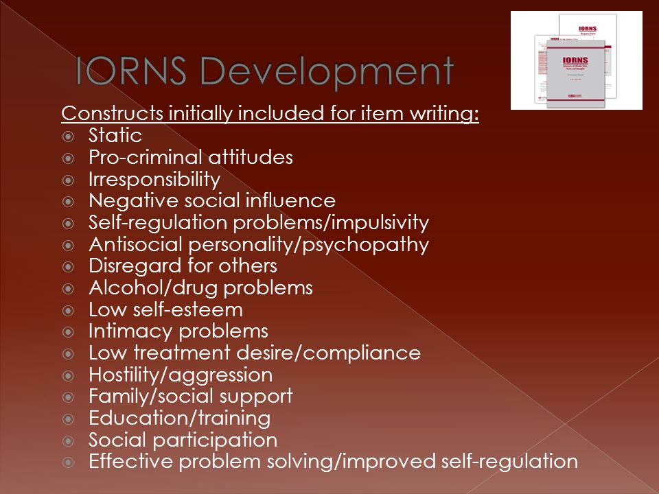 IORNS Development Constructs initially included for item writing: