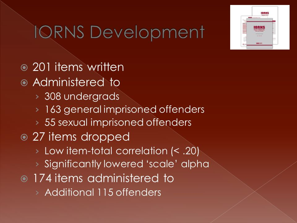 IORNS Development 201 items written Administered to 27 items dropped