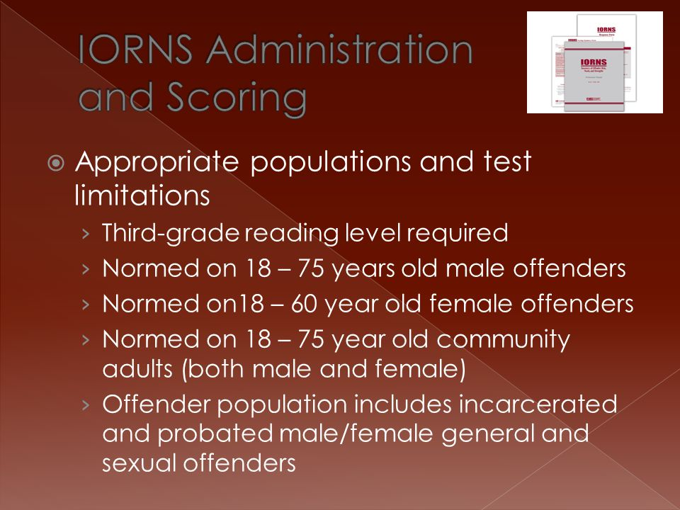 IORNS Administration and Scoring