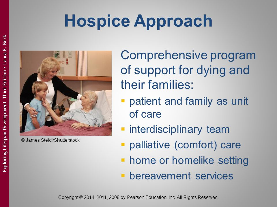 Hospice Approach Comprehensive program of support for dying and their families: patient and family as unit of care.